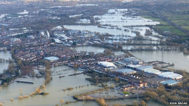 Aerial shot of Wolvercote and Botley floods