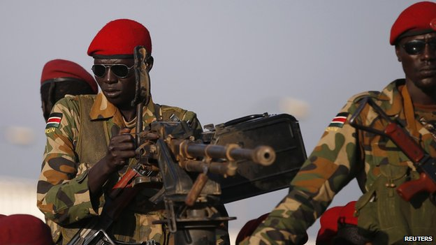 SPLA soldiers stand in a vehicle in Juba December 20, 2013