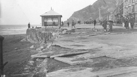 Aberystwyth shelter after the 1927 storm