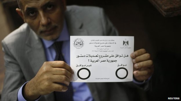 A man holds up constitutional referendum ballot at the Egyptian consulate in Dubai (8 January 2014)