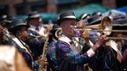 Members of a brass band perform in Cape Town's Minstrels Carnival, South Africa - Saturday 4 January 2014