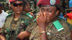 A member of the Congolese Republican Guards cries during the funeral of Col Mamadou Ndala, Kinshasa, DR Congo - Monday 6 January 2014