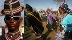 L: A male nomadic pastoralist in Sudan wearing a hat and sunglasses R: Pastoralists dancing in  Al-Rosaries in Blue Nile state, Sudan - both Monday 6 January 2014
