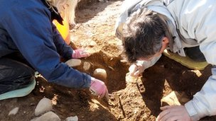 Archaeologists excavate at the Trefael Stone