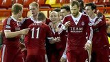 Aberdeen celebrate Willo Flood's late winner