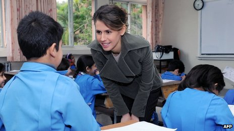 Asma al-Assad, wife of the Syrian president, visits a school in Damascus