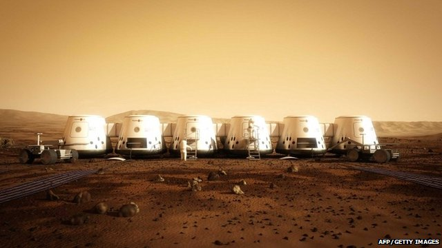"Artist""s rendition of a settlement on Mars"