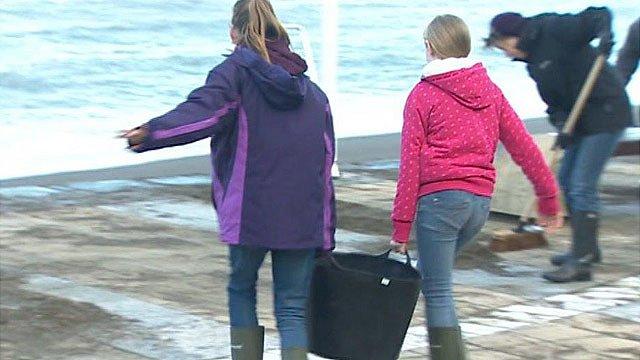 Clear-up at Aberystwyth