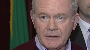 Martin McGuinness spoke to reporters after the party executive met in Dublin