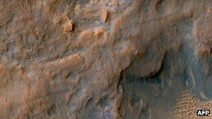 The surface of Mars with the tracks of Curiosity visible