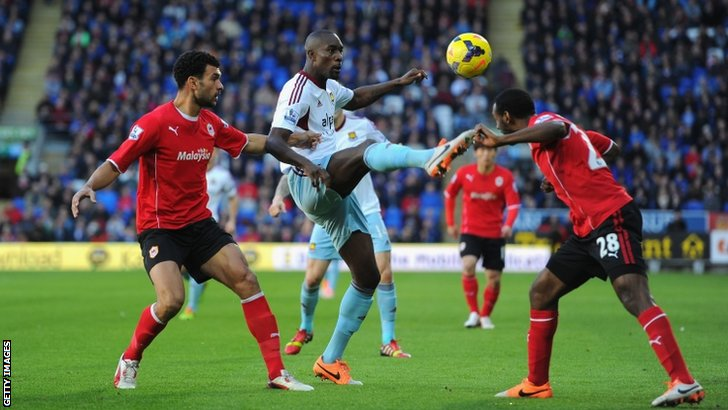 Carlton Cole (centre) in action for West Ham