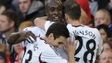 West Ham celebrate Carlton Cole's goal