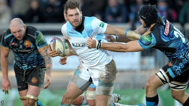 Glasgow's Sean Lamont holds off an Exeter tackle