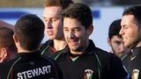 Glentoran celebrate one of their three goals at Portadown