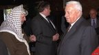 Ariel Sharon and Yasser Arafat at the Middle East peace summit in Maryland, US, on 21 October 1998