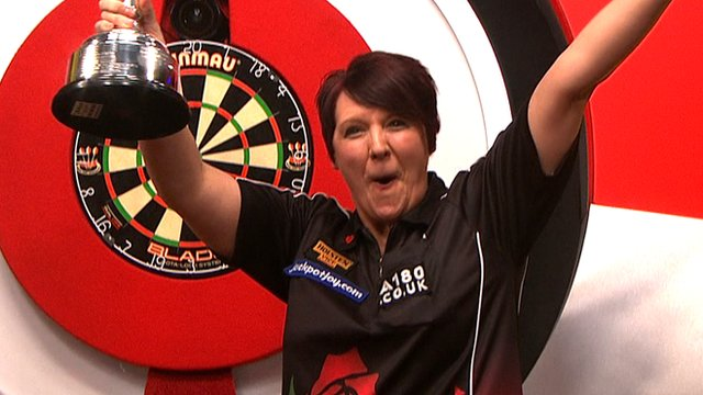 Lisa Ashton wins the 2014 BDO World Darts Women's Championship.