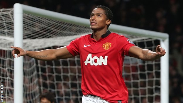Manchester United's Antonio Valencia celebrates his opening goal