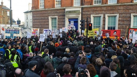 Crowd outside Tottenham police station