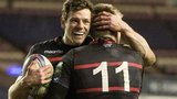 Edinburgh's Nick De Luca (left) congratulates Tom Brown on his try.