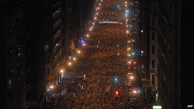 Marchers in Bilbao, northern Spain, 11 January
