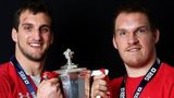 Sam Warburton and Gethin Jenkins celebrate Wales' 2013 Six Nations success