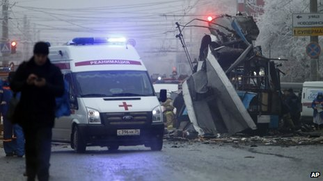 File photo of an ambulance leaving the site of the second explosion in Volgograd (31 December 2013)