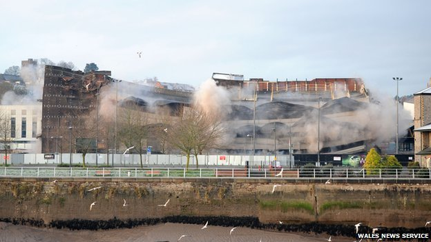 Demolition of Capitol car park, Newport