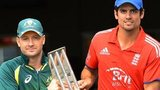 Captains Michael Clarke and Alastair Cook with the one-day series trophy