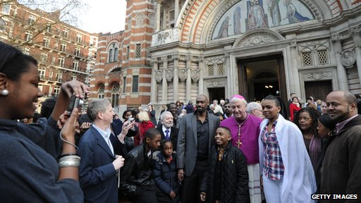 Archbishop Nichols outside Westminster Cathedral