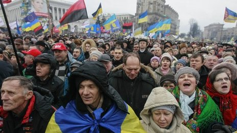 Pro-European integration protesters attend a rally in Independence square in Kiev, 12 January 2014