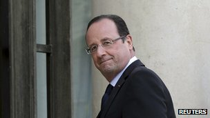 French President Francois Hollande at the Elysee Palace