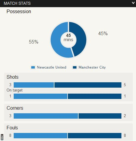 Newcastle 0-1 Manchester City