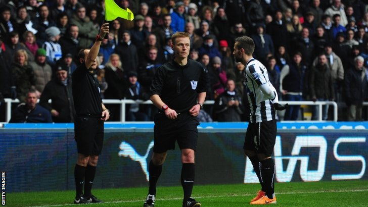 A goal is ruled out at Newcastle - much to the annoyance of the Newcastle fans and players