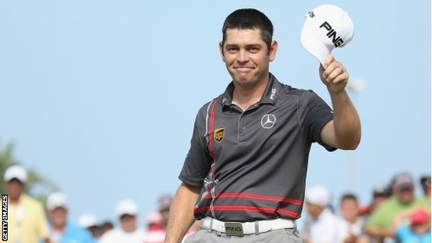 Louis Oosthuizen celebrates winning in Durban
