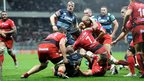 Sam Hobbs edges towards the line for Cardiff BLues, who lose 43-20