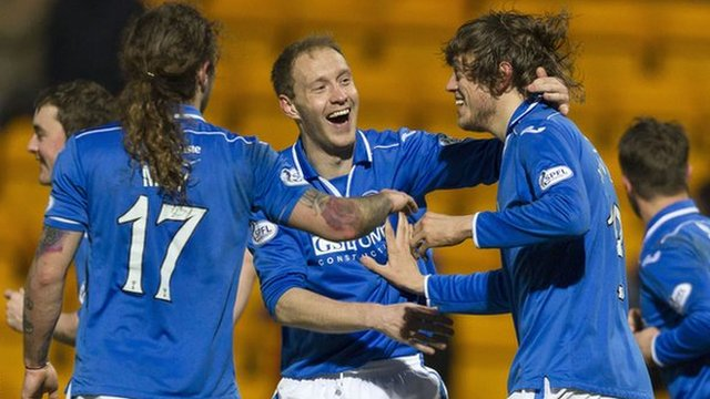 Murray Davidson (right) is hailed by Steven Anderson after opening the scoring for St Johnstone