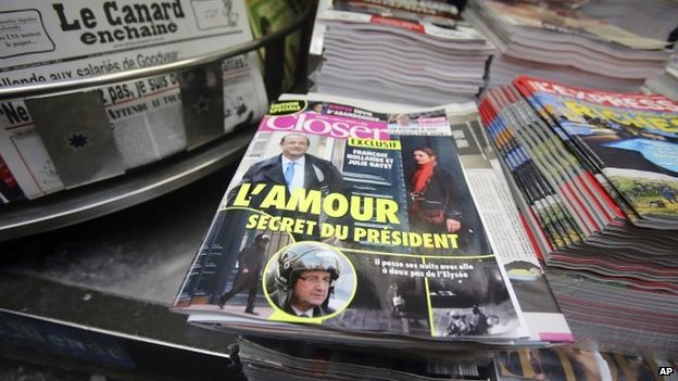 Closer magazine on a newspaper stall in Paris, 10 January