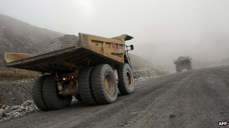 A vehicle at Freeport McMoRan's Grasberg mine