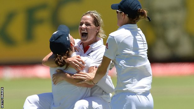 Katherine Brunt celebrates England's winning wicket