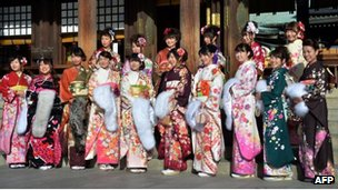Young women at a Japanese temple for Coming of Age day