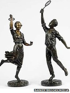 Tennis player figurine by French sculptor G Omerth from the 1920s - part of the Thomas Black collection