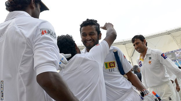 Sri Lanka celebrate after winning the second Test against Pakistan in Dubai