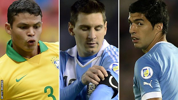 Thiago Silva, Lionel Messi and Luis Suarez