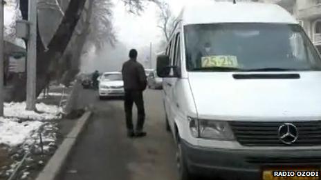 A minibus in Tajik capital Dushanbe