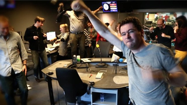 The BBC Trending team and colleagues doing Gangnam Style, The Penguin Dance and the Harlem Shake