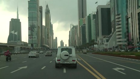 The sheikh driving his car around Dubai