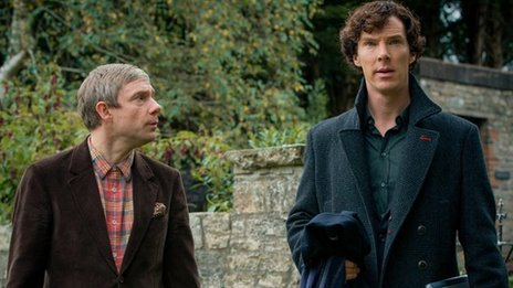 Martin Freeman as John Watson and Benedict Cumberbatch as Sherlock Holmes