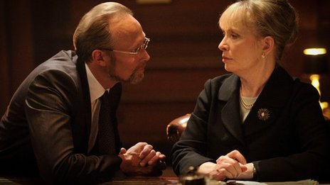 Lars Mikkelsen as Charles Magnussen and Lindsay Duncan as Lady Smallwood