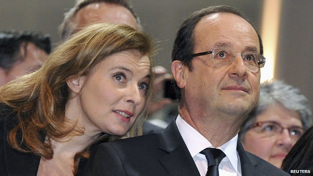 Francois Hollande with partner Valerie Trierweiler - 19 Jan 13