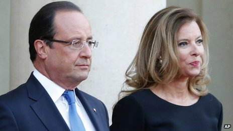 French President Francois Hollande and his partner, Valerie Trierweiler